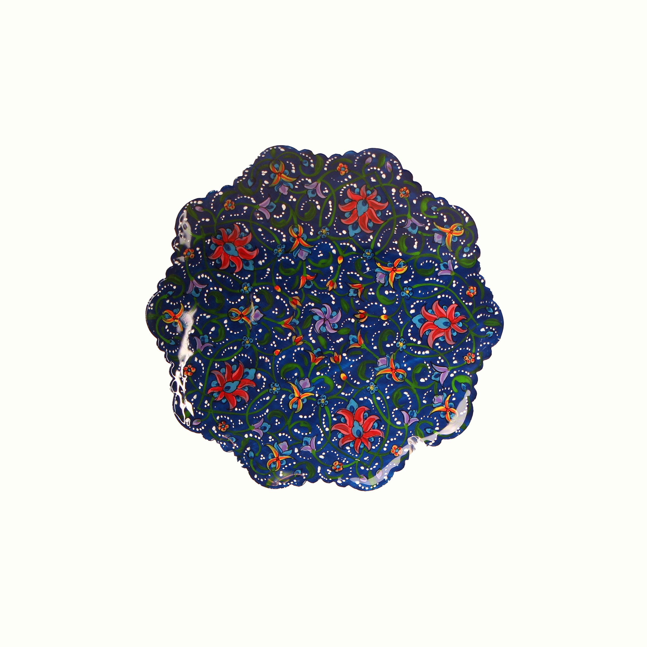 بشقاب مس و پرداز آرانیک گرد  رنگ آبی طرح شاه عباسی1 مدل 1000100007