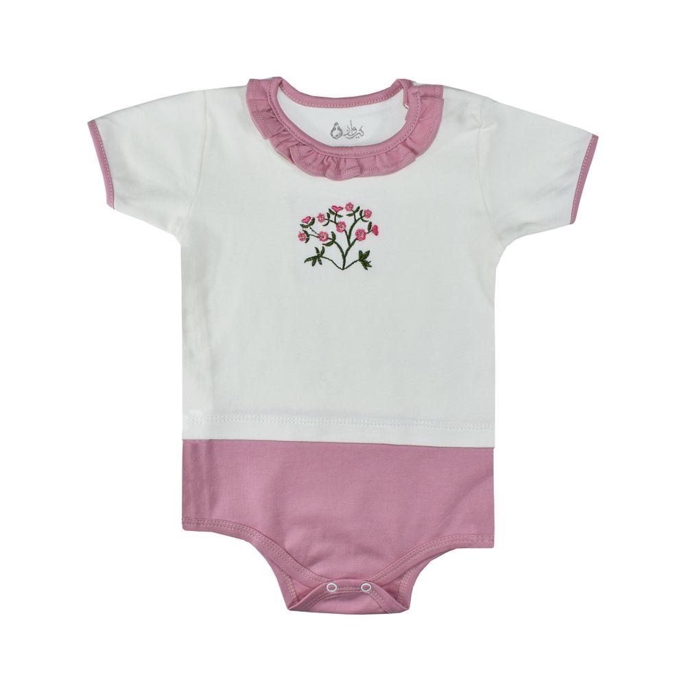 بادی نوزادی دخترانه نیروان طرح گل