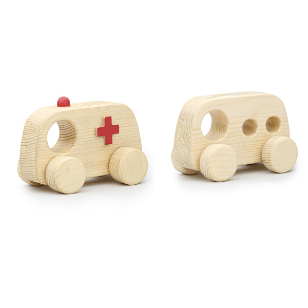اسباب بازی چوبی مدل اتوبوس و امبولانس کد 43112 مجموعه 2 عددی