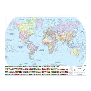 نقشهگیتاشناسی نوین طرح جهان و پرچم کشورها کد 1434