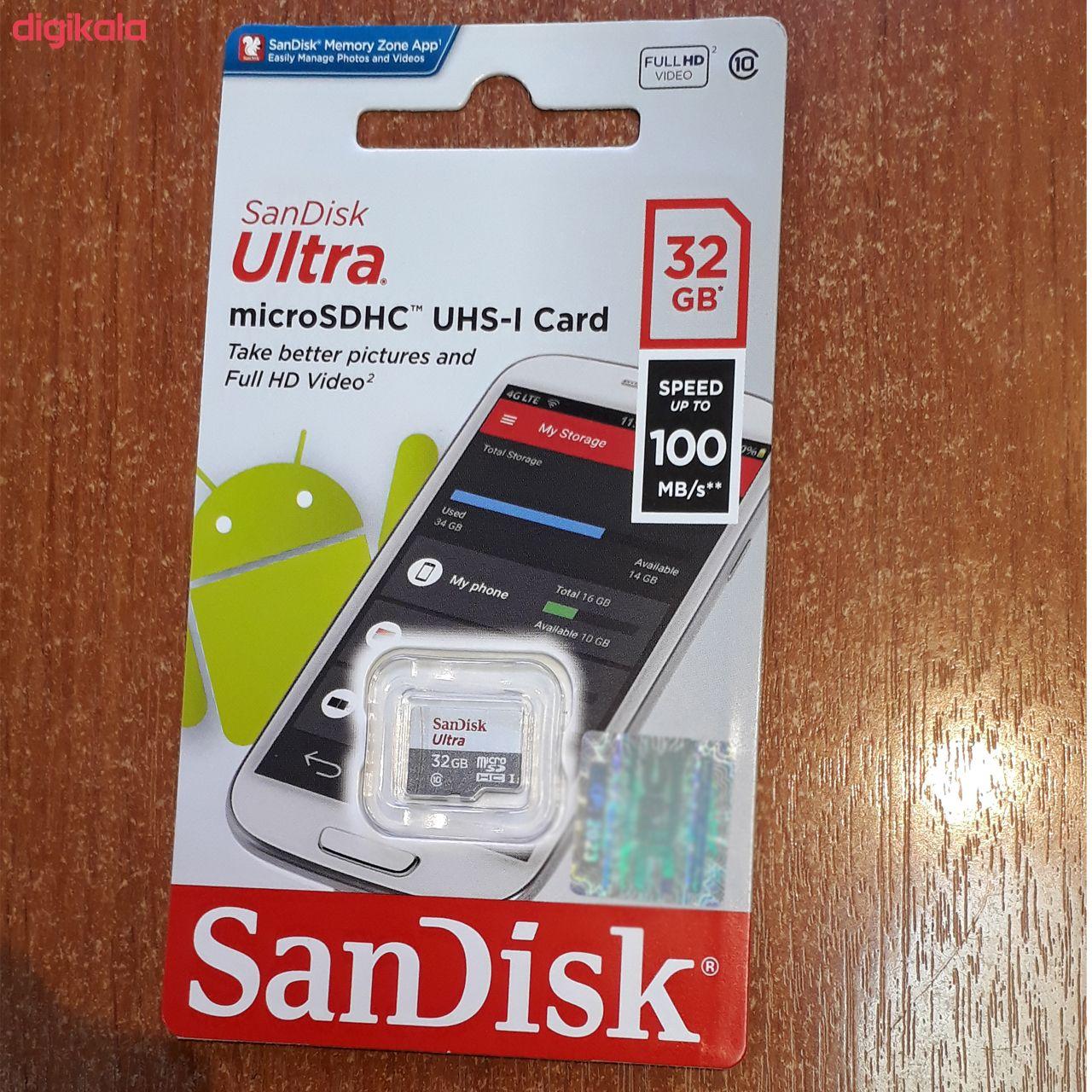 کارت حافظه microSDHC سن دیسک مدل Ultra کلاس 10 استاندارد UHS-I U1 سرعت 100MBps  ظرفیت 32 گیگابایت main 1 1