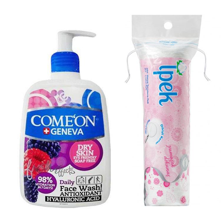ژل شستشو صورت کامان مدل Dry Skin حجم 500 میلی لیتر به همراه پد پاک کننده آرایش ایپک بسته 70 عددی