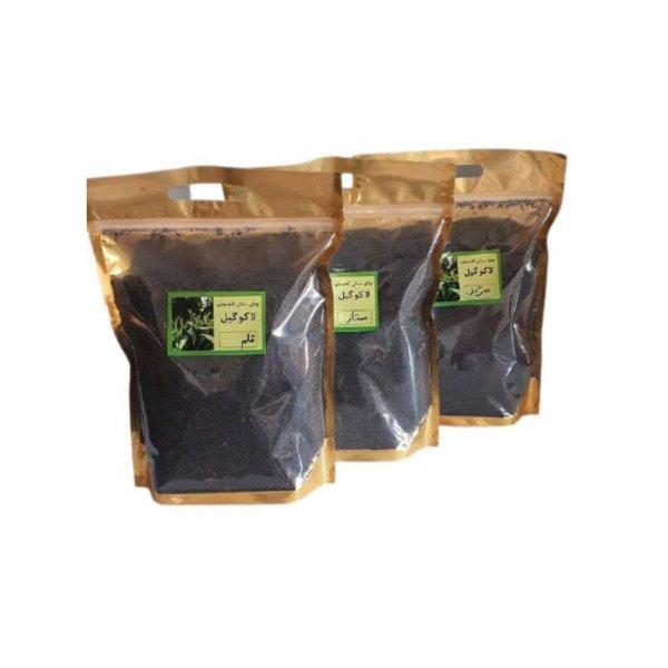 چای سیاه قلم لاهیجان و چای سرگل لاهیجان و چای ممتاز لاهیجان لاکوگیل -450 گرم مجموعه 3 عددی