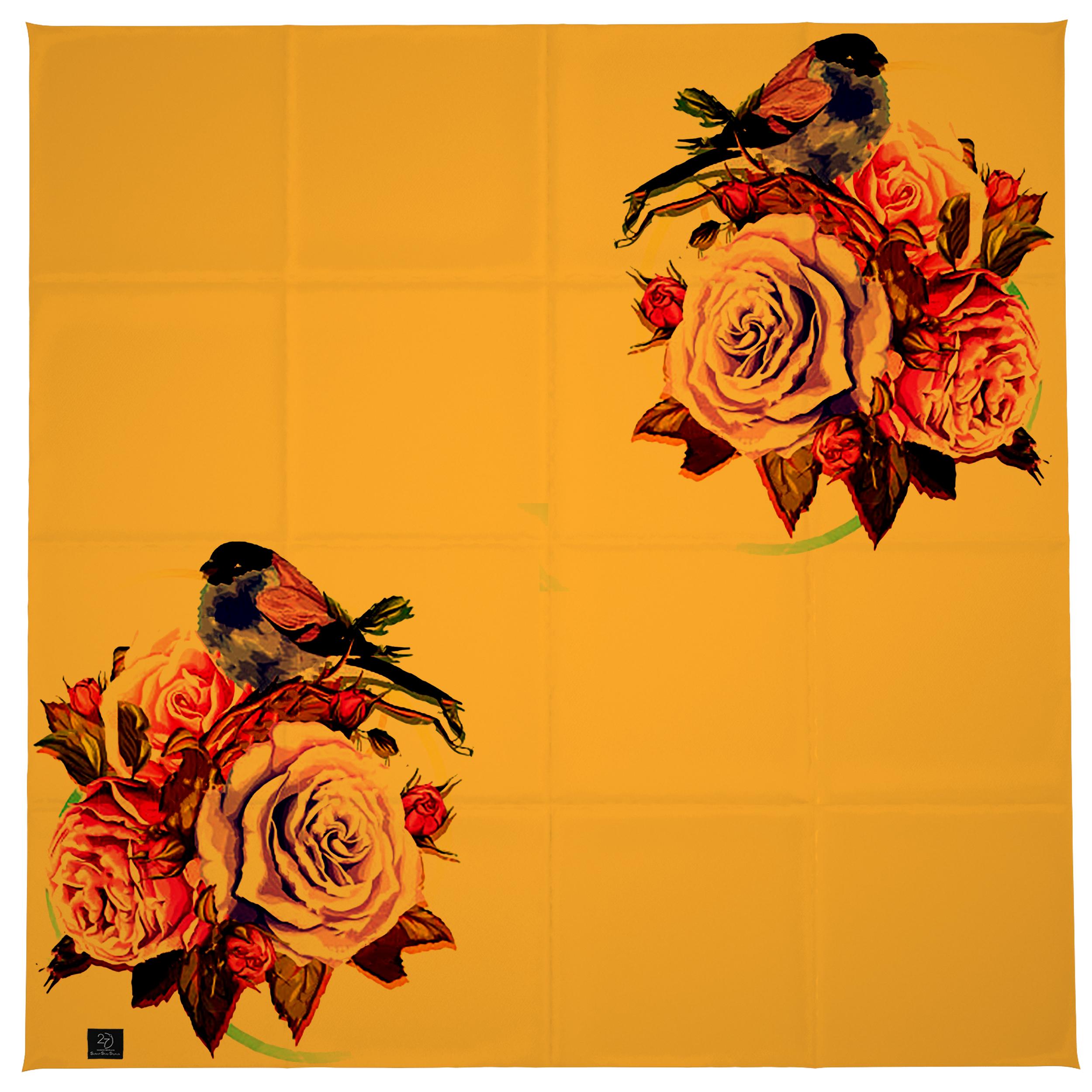 روسری زنانه 27 طرح پرنده و گل کد H06 -  - 11