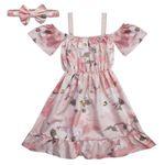ست پیراهن وهدبند دخترانه مدل گلابتون کد B 593