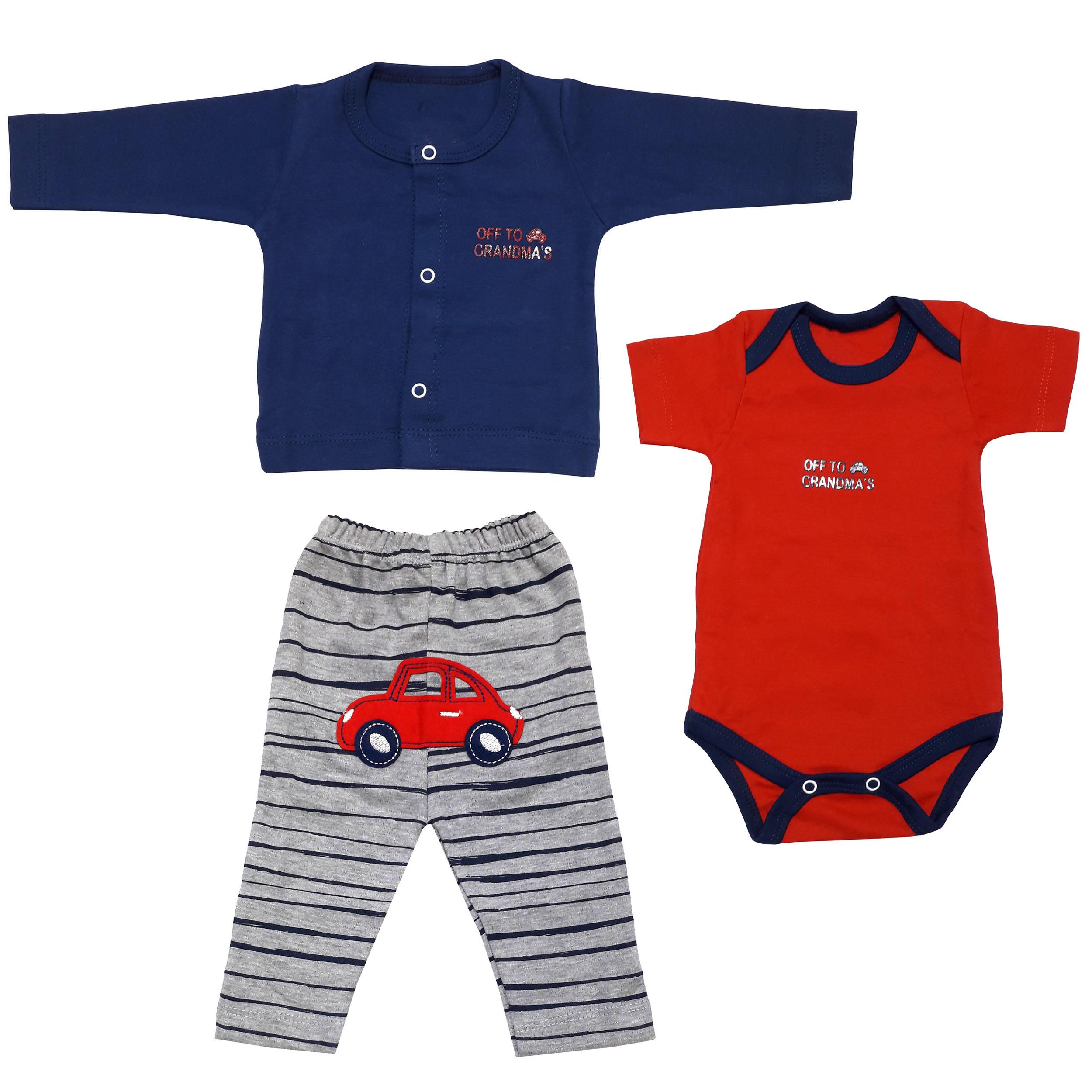 ست 3 تکه لباس نوزادی پسرانه مدل ماشین کد 3311