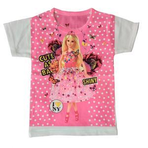 تی شرت آستین کوتاه دخترانه مدل باربی کد shiny2