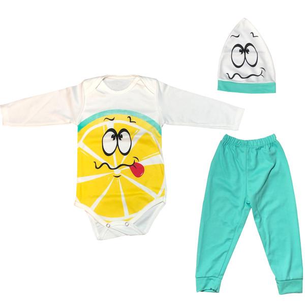 ست 3 تکه لباس نوزادی مدل لیمویی کد novstyle1