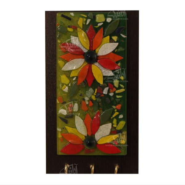 کلید آویز آبگینه موزائیک  رنگ قهوه ای طرح گلزار مدل 1005400012