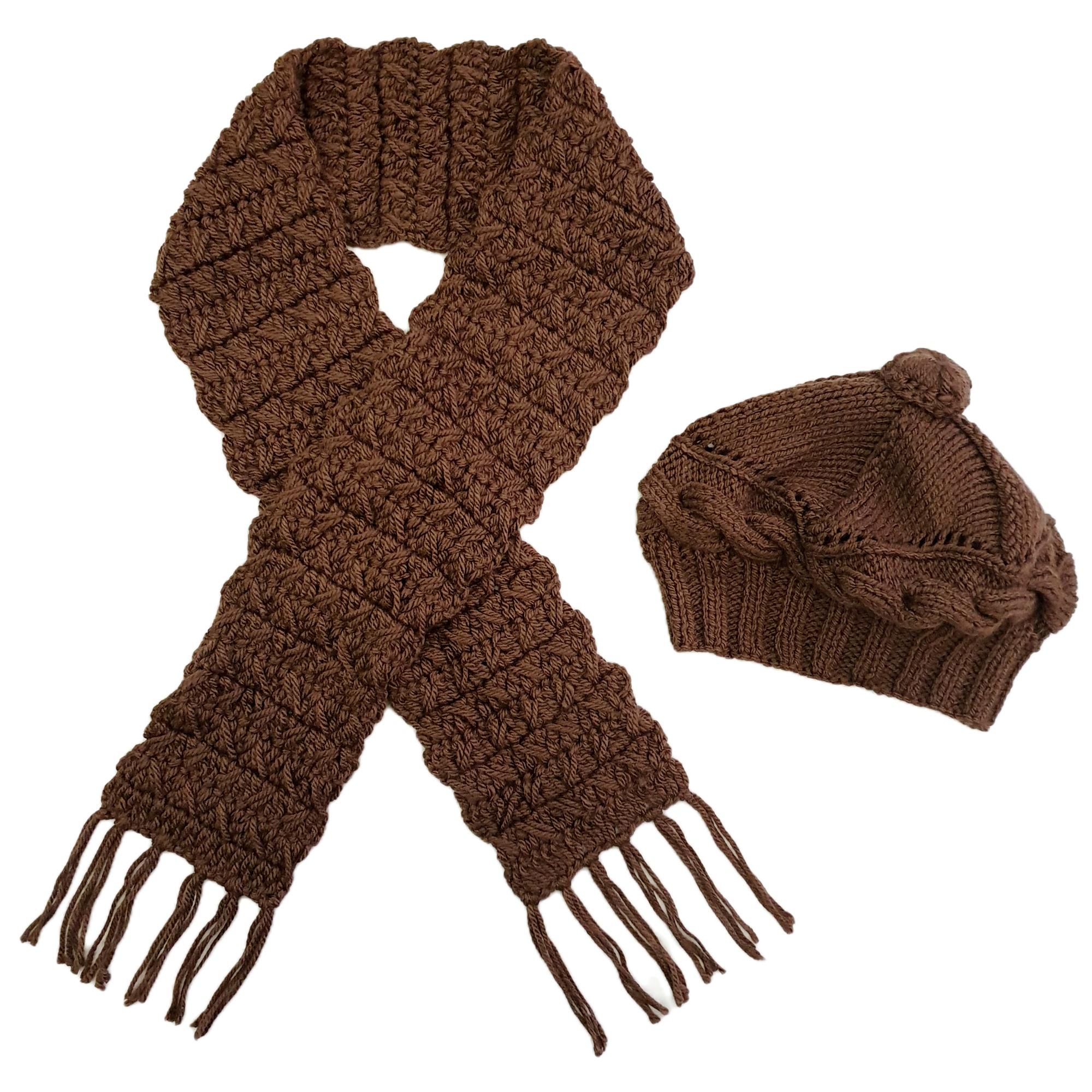 ست كلاه و شال گردن بافتنی زنانه كد SHB3-LBR