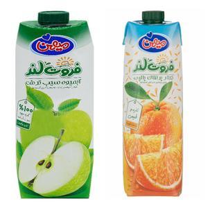 نکتار پرتقال و ابمیوه سیب ترش ميهن - 1 ليتر بسته 2 عددي