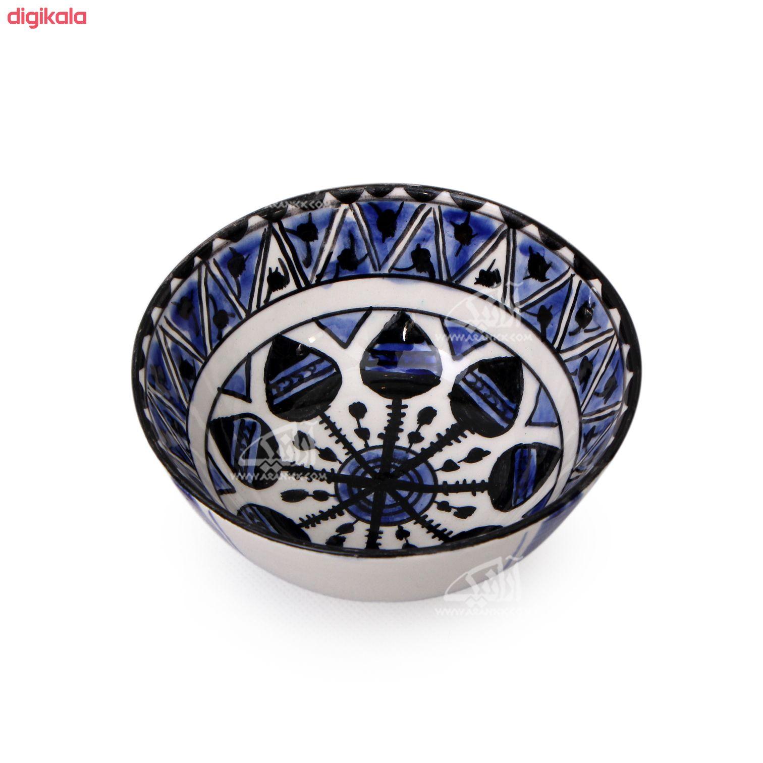 کاسه سفالی آرانیک نقاشی زیر لعابی رنگ سفید طرح چرخش مدل  1004000030 main 1 1