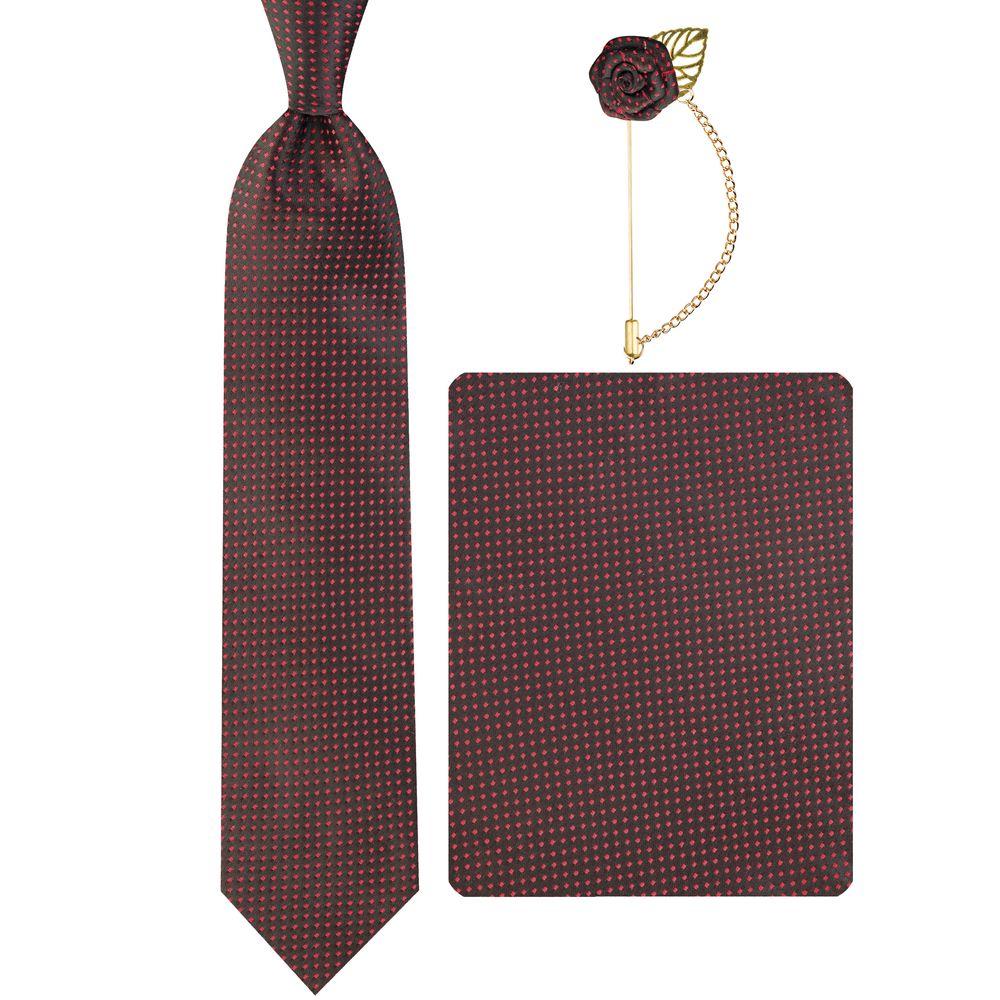 ست کراوات و دستمال جیب و گل کت مردانه جیان فرانکو روسی مدل GF-PO930-BK