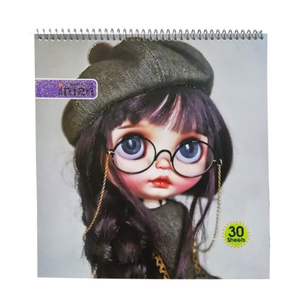 دفتر نقاشی 30 برگ ایمان طرح دختر عینکی کد 03