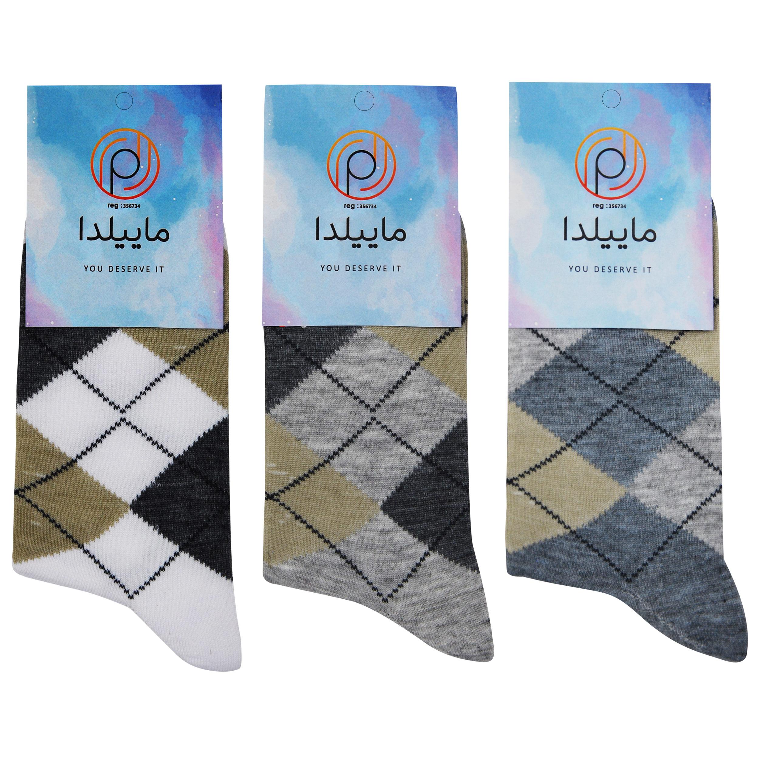 جوراب مردانه ماییلدا کد 3416-100-1 بسته 3 عددی