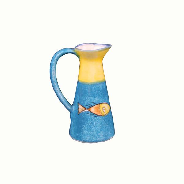 آبلیمو خوری سفالی نقاشی زیر لعابی رنگارنگ طرح ماهی مدل 1018700001