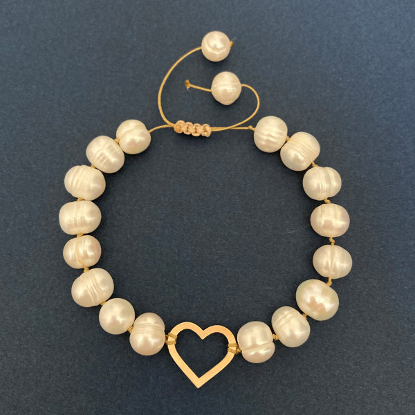 دستبند طلا 18 عیار زنانه الماسین آذر طرح قلب مدل GH03