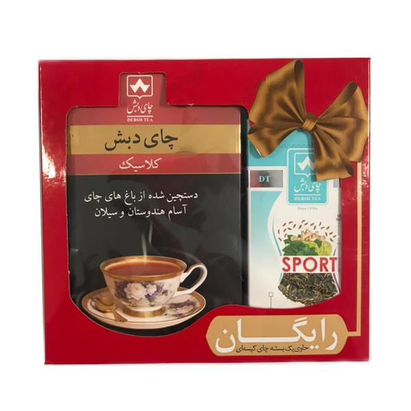 چای کلاسیک چای دبش - 500 گرم و دمنوش کیسه ای ورزش بسته 25 عددی