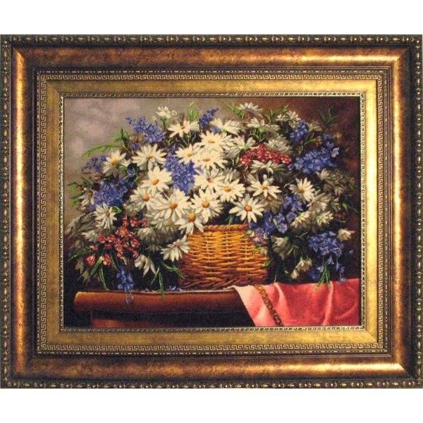 تابلو فرش دستبافت طرح گل و گلدان کد 676