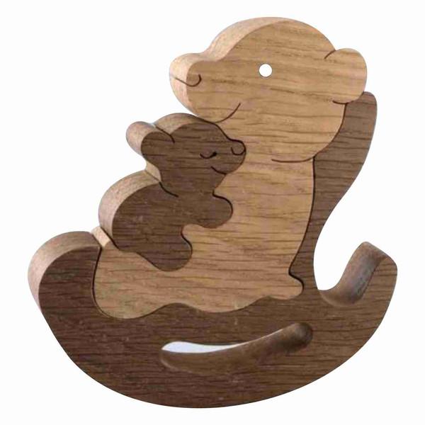اسباب بازی چوبی مدل خرس قهوه ای