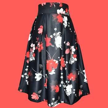 دامن زنانه مدل گلها depg380b رنگ مشکی