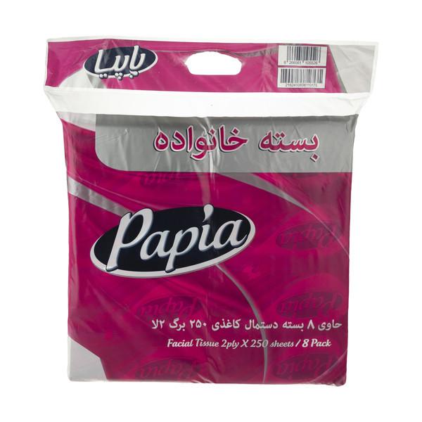 دستمال کاغذی 250 برگ پاپیا مدل 009 بسته 8 عددی