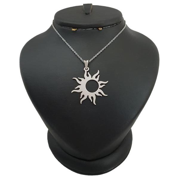 گردنبند نقره مردانه ترمه ۱ طرح خورشید کد mas 00383