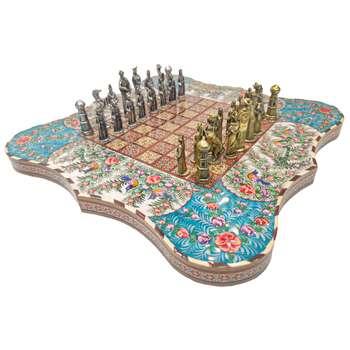 صفحه شطرنج خاتم کاری طرح نقاشی گل و مرغ مدل دالبری پشت صدفی کد 101