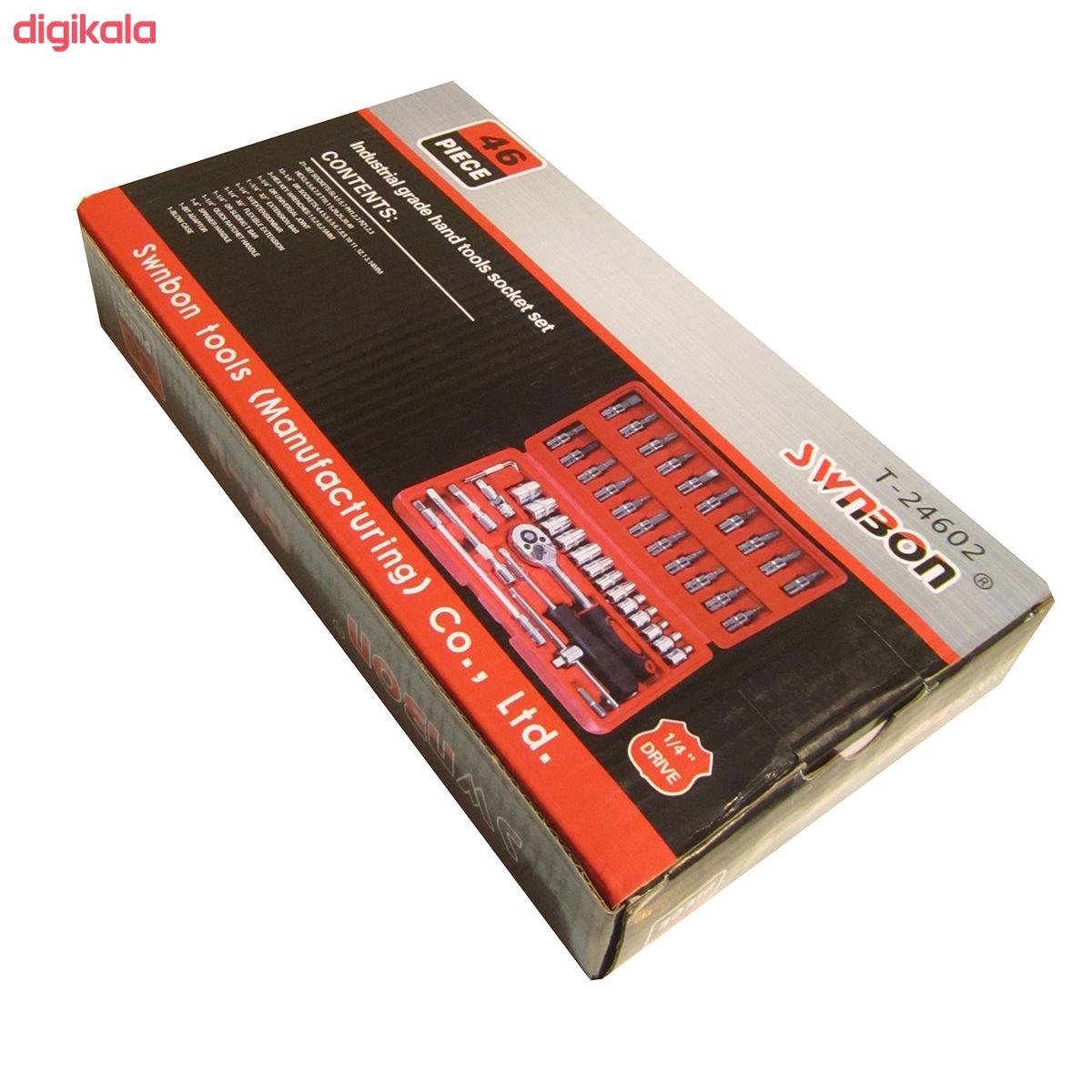 مجموعه 46 عددی آچار و سری بکس و پیچ گوشتی سوانبون مدل T-24602 main 1 6