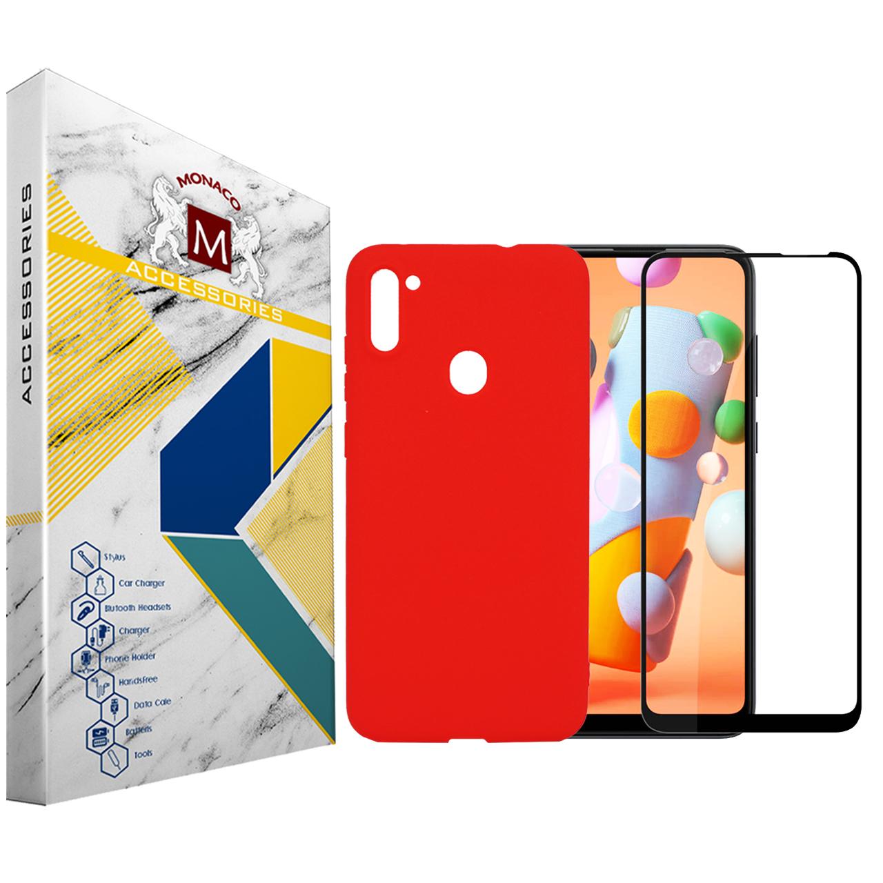 کاور سیلیکونی موناکو کد SL170 مناسب برای گوشی موبایل سامسونگ Galaxy A11 به همراه محافظ صفحه نمایش