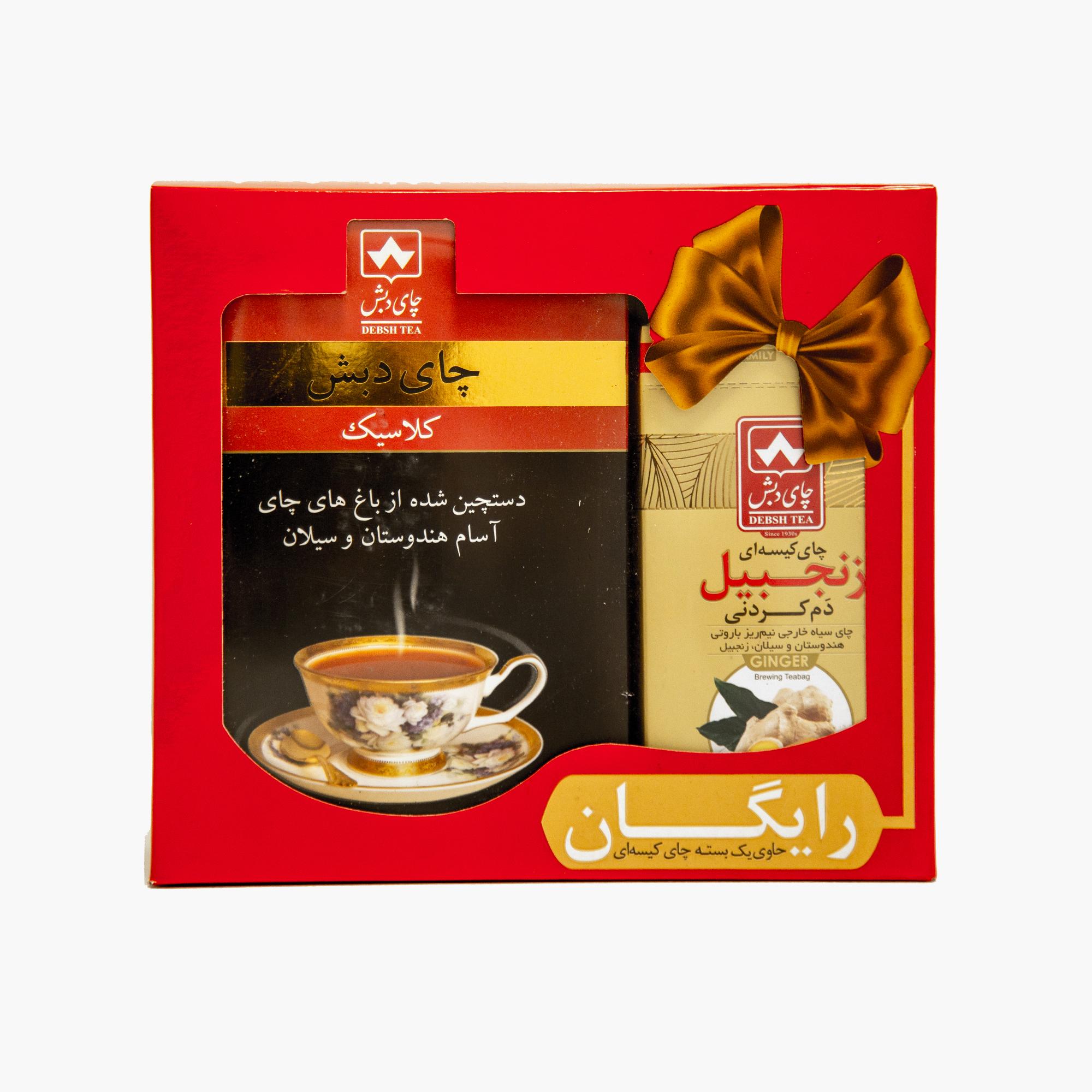 چای کلاسیک چای دبش - 500 گرمی و چای کیسه ای دم کردنی زنجبیلی دبش بسته 10 عددی