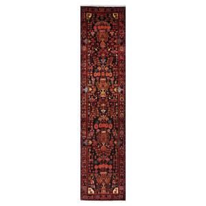 فرش قدیمی دستبافت کناره طول پنج متر طرح عشایری مدل H72
