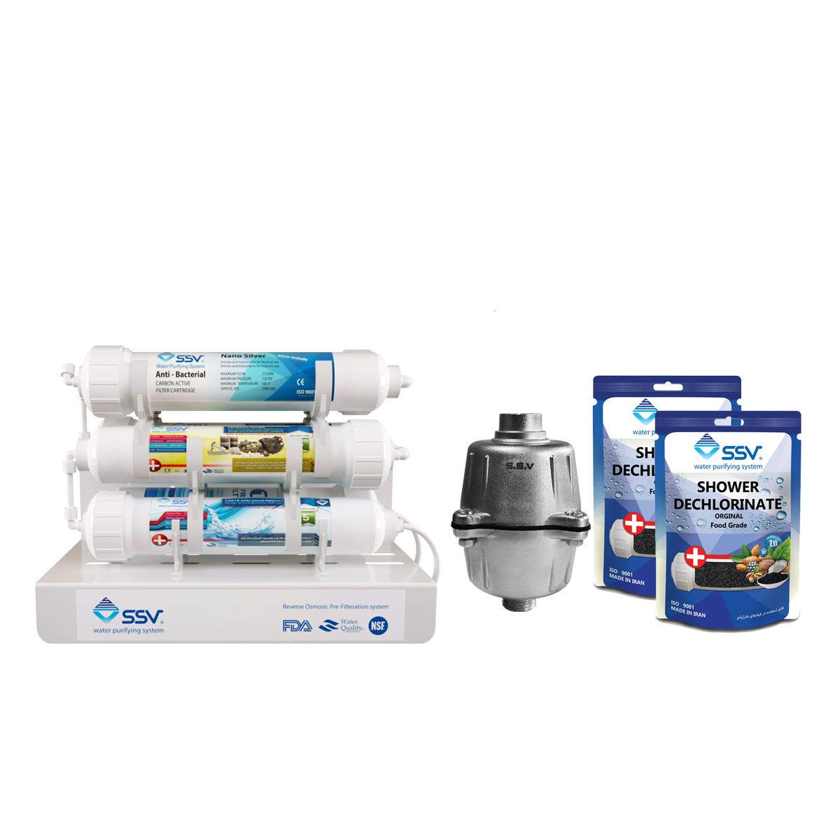 دستگاه تصفیه کننده آب اس اس وی مدل Jetline x800 به همراه فیلتر و شارژ یدک وزن 140 گرم