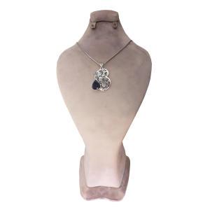 گردنبند نقره دخترانه طرح گل و مرغ مدل ۱۱۲