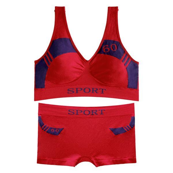 ست نیم تنه و شورت ورزشی زنانه کد 04-88831 رنگ قرمز