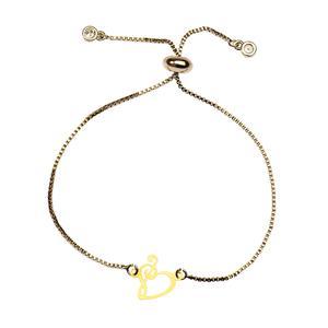 دستبند طلا 18 عیار دخترانه کرابو طرح قلب و کلید سل مدل Krd1059