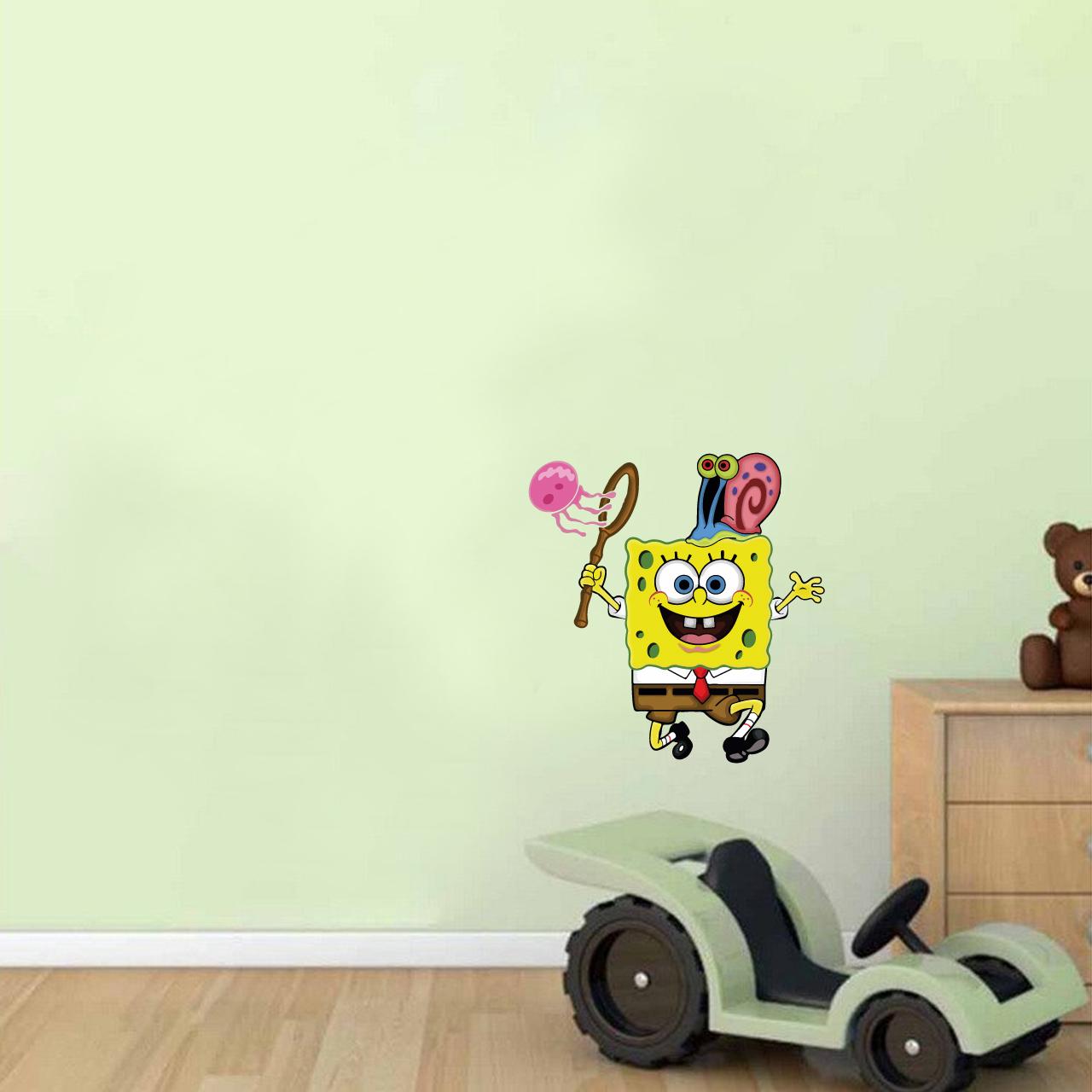 استیکر دیواری کودک هفال طرح باب اسفنجی و یوگی کد H79