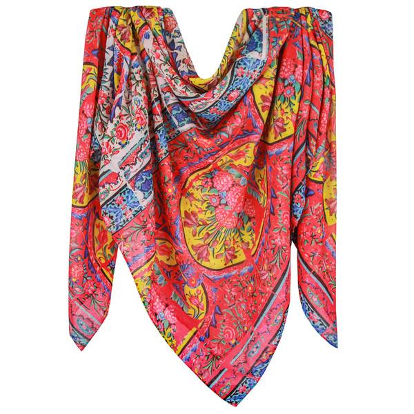 روسری زنانه قلم فلزی طرح کاشی کاری مسجد نصیرالملک کد 256094