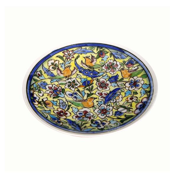 بشقاب سفالی آرانیک نقاشی زیر لعابی رنگ آبی طرح گل و مرغ مدل 1000200087
