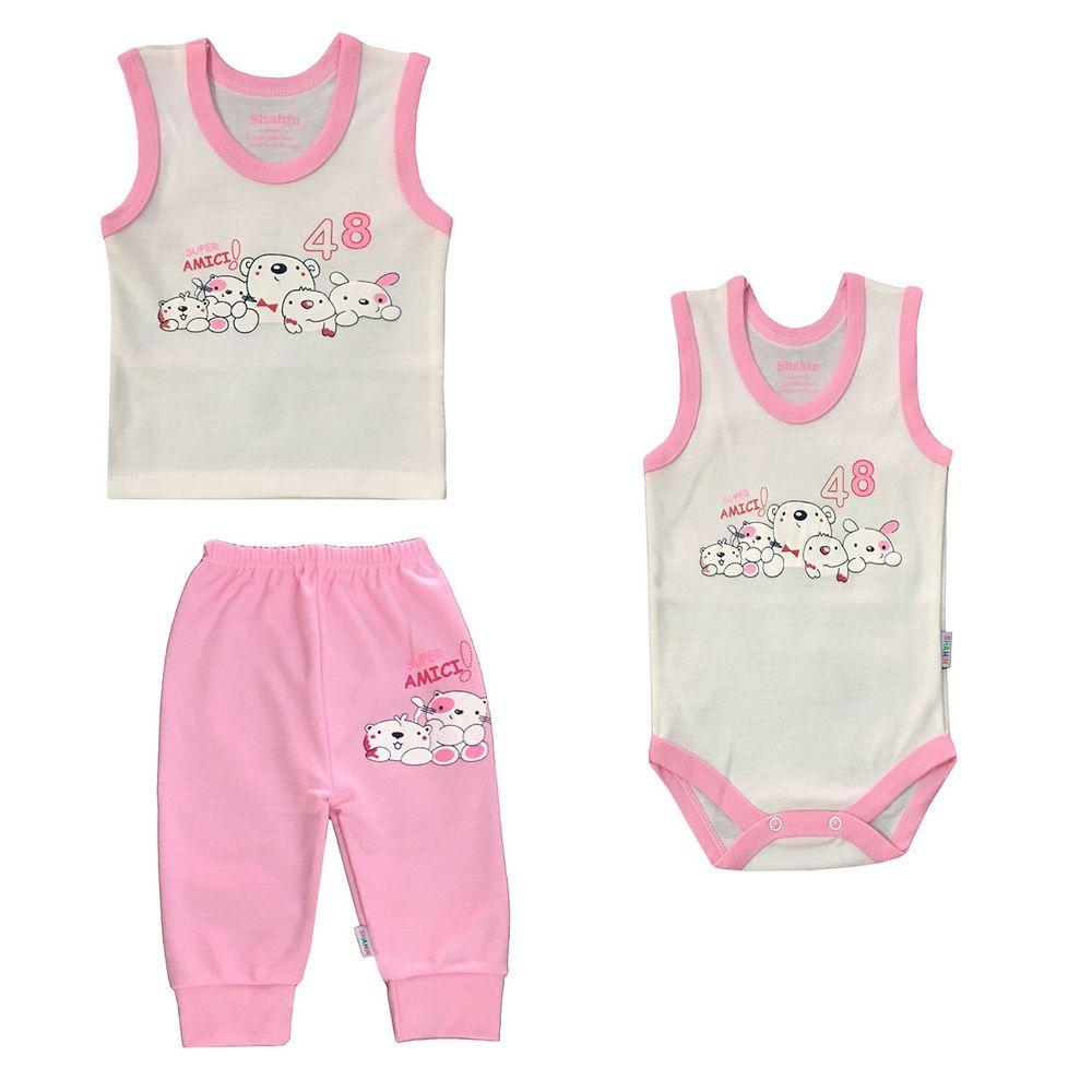 ست 3 تکه لباس نوزادی دخترانه شاهین طرح امیکی کد R