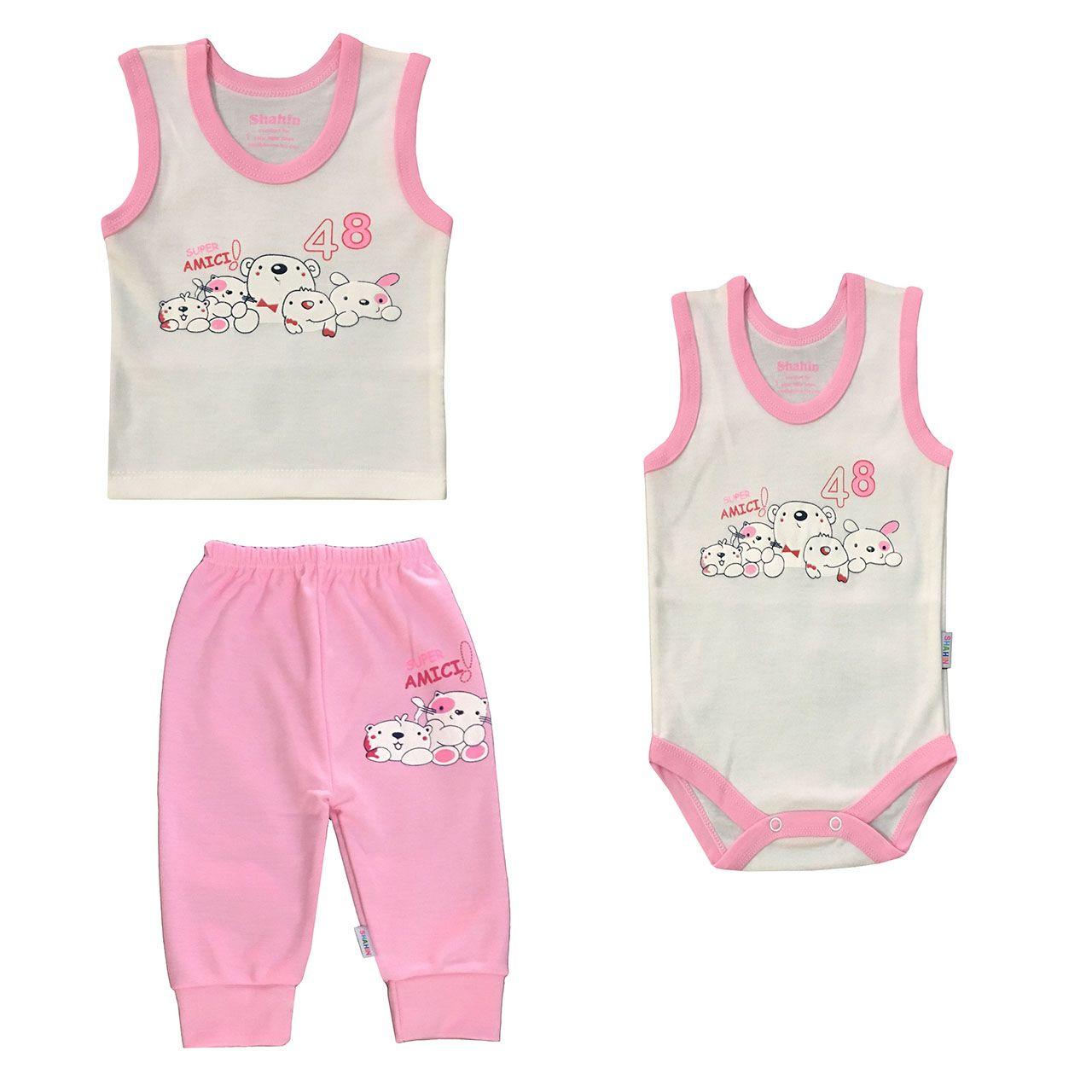 ست 3 تکه لباس نوزادی دخترانه شاهین طرح امیکی کد R -  - 2