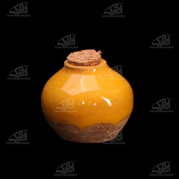 عطردان سفالی لعاب ساده  .رنگ زرد طرح نشاط مدل 1002700002