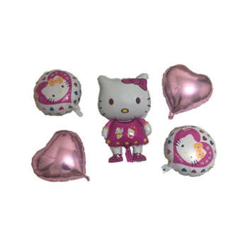 بادکنک فویلی مدل Hello Kitty مجموعه 5 عددی