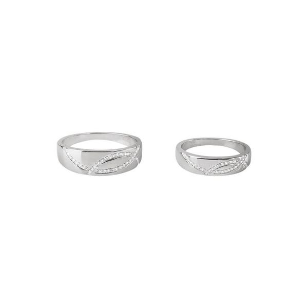 ست انگشتر نقره زنانه و مردانه کوبیک مدل QR-1080-6-10