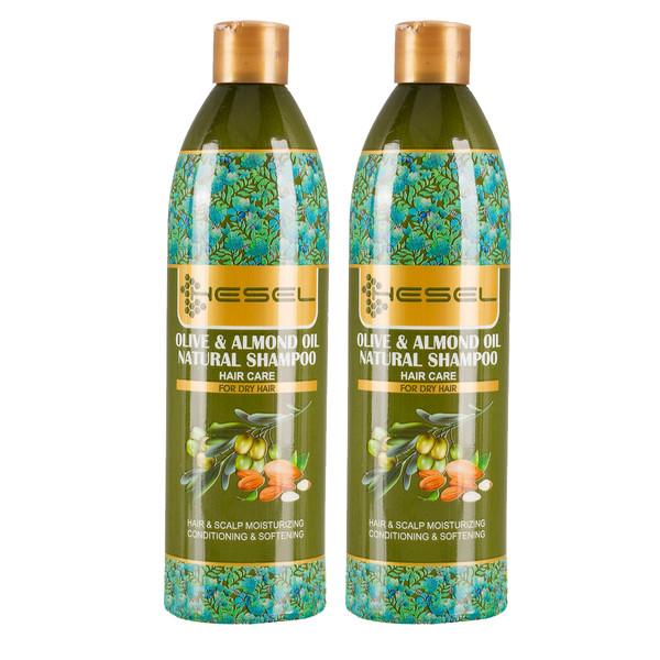 شامپو مو هسل مدل  Olive & Almond oil وزن 400 گرم مجموعه 2 عددی