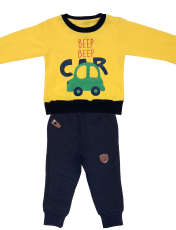 ست سویشرت و شلوار پسرانه طرح ماشین کد 3077 رنگ زرد -  - 1