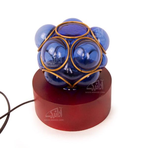 آباژور چوبی آرانیک آبی طرح حباب شیشه ای مدل 2217200006