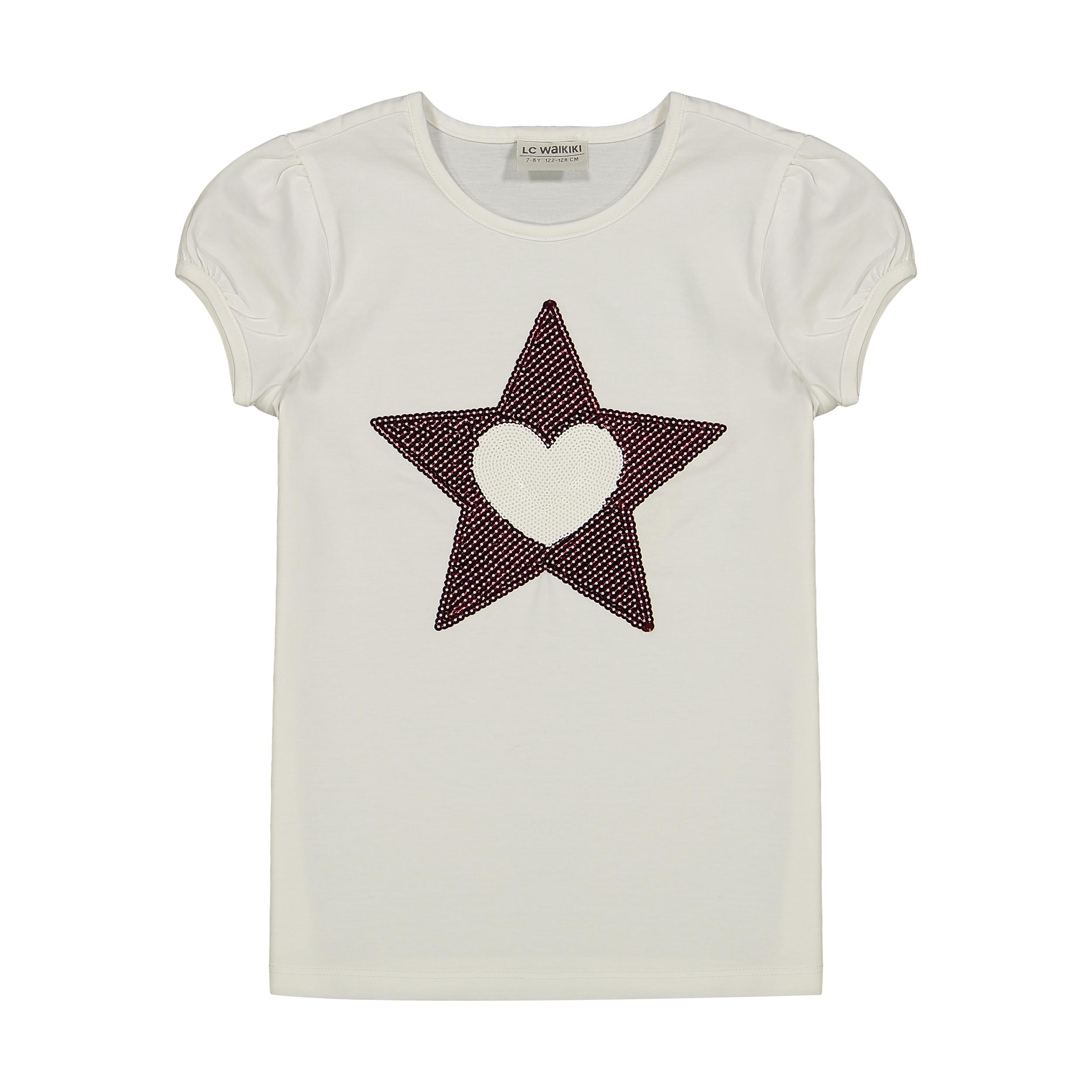 تی شرت دخترانه ال سی وایکیکی مدل 0SJ393Z4-WHITE