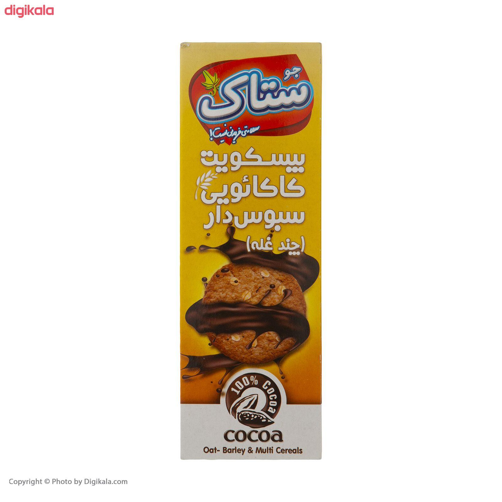 بیسکویت کاکائویی سبوس دار چند غله ستاک مقدار 350 گرم  main 1 1