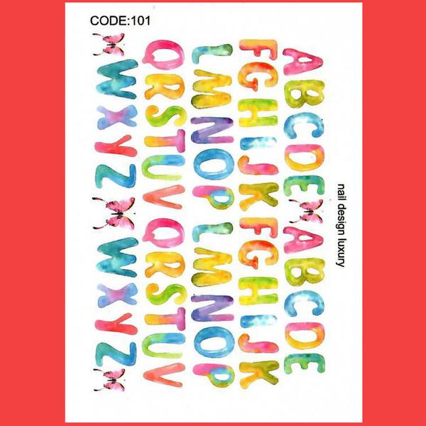 استیکر طراحی ناخن طرح حروف انگلیسی آبرنگی مدل C101